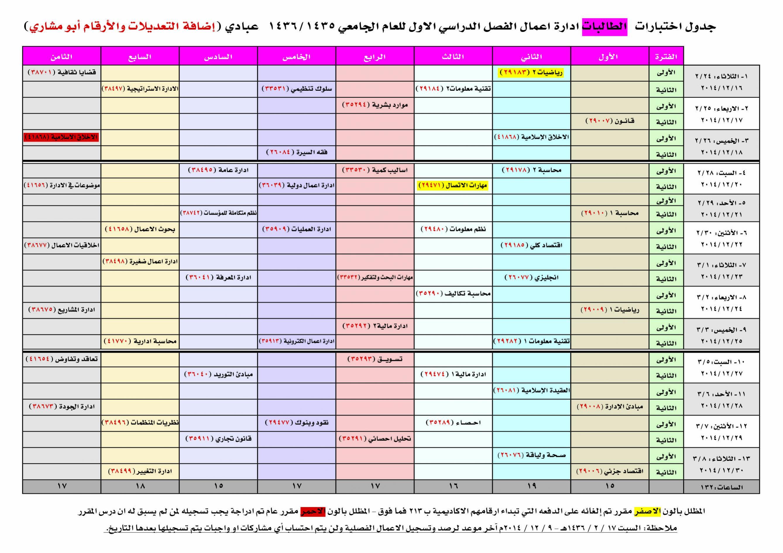 جدول الاختبار ملتقى طلاب وطالبات جامعة الملك فيصل جامعة الدمام