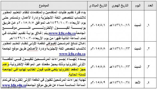 التقويم الزمني للقبول في جامعة الملك فيصل للعام الجامعي 1436 1437هـ ملتقى طلاب وطالبات جامعة الملك فيصل جامعة الدمام
