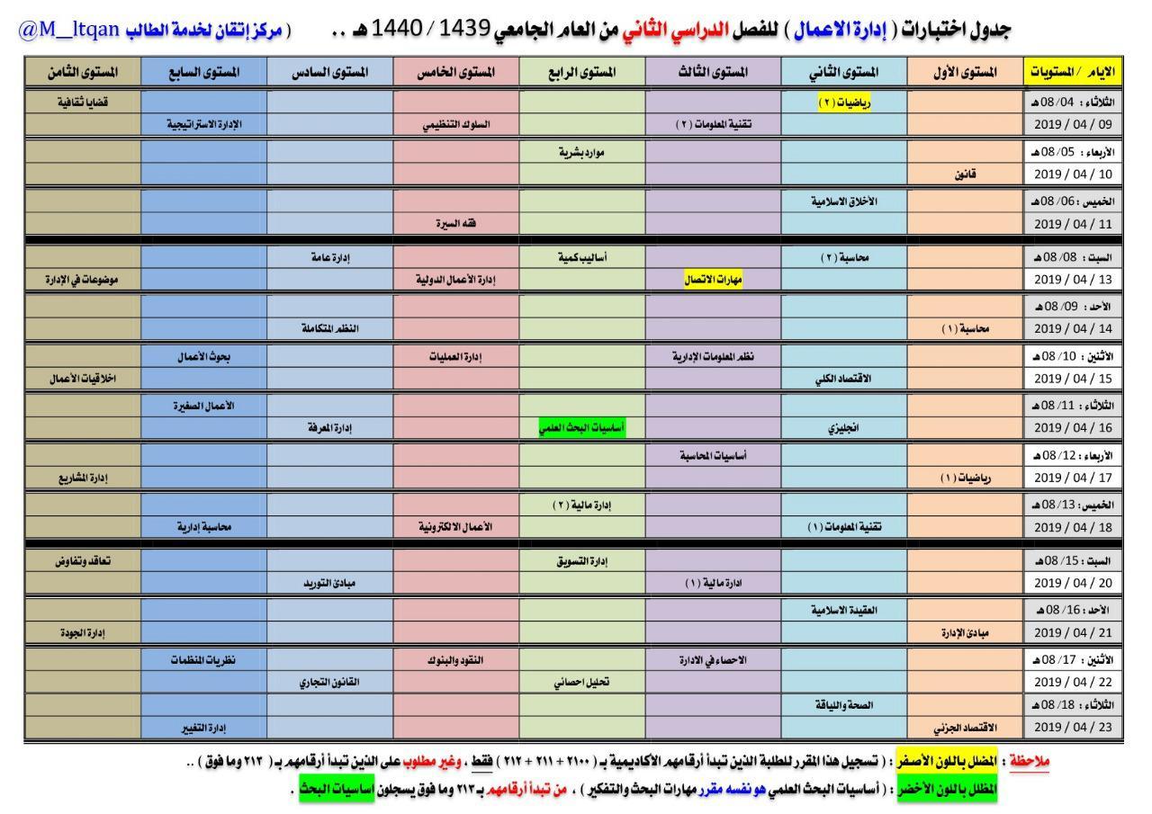 Details Of جدول اختبارات جامعة الملك عبدالعزيز تعليم عن بعد 1440 Doted2
